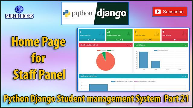 Python Django Student Management System Part 21   Homepage for Staff Panel