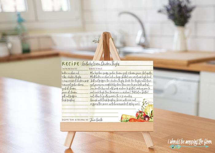 Watercolor Recipe Cards