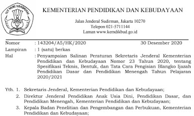 Salinan Persesjen Ijazah Nomor 23 Tahun 2020