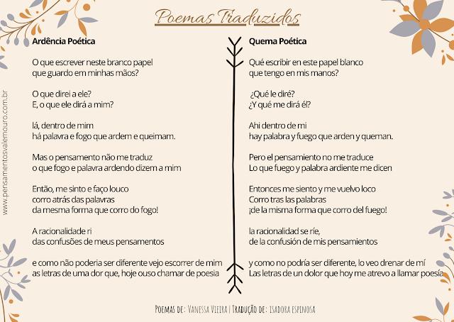 poemas traduzidos, traduções, poemas, versos, literatura Nacional, Vanessa Vieira, Isadora Espinosa, Autores Nacionais, Poetas, literatura, Literatura e cultura