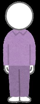 服を着た棒人間のイラスト(紫)