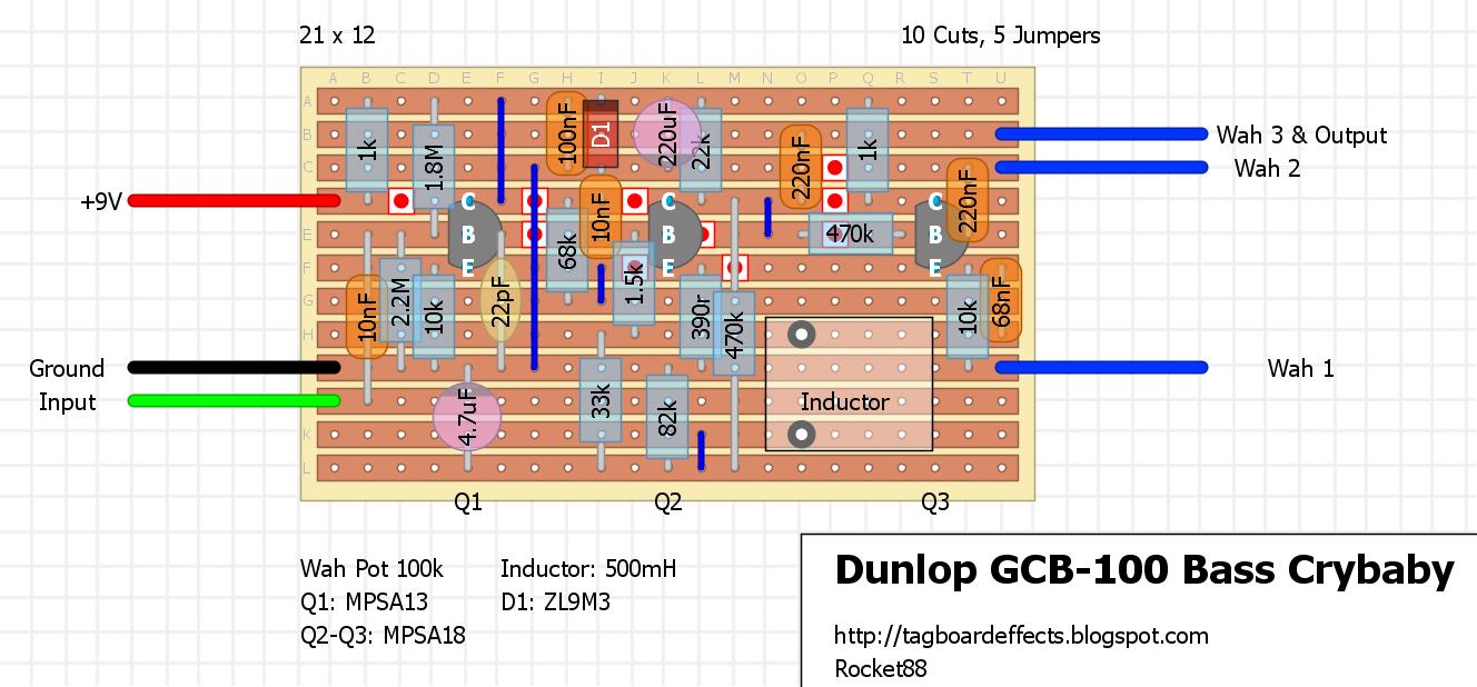 Guitar Fx Layouts Dunlop Gcb 100 Bass Crybaby