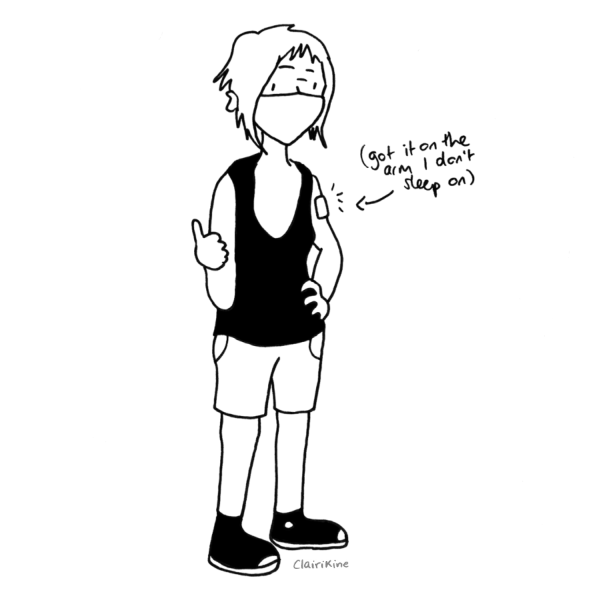 """A drawing of Claire wearing a black tank top, black Converse high-tops and shorts, chin-length hair and an FFP2 mask, staring into the camera with their thumb up and their left hand on their side, showing a large band-aid on their left shoulder. A caption pointing to the band-aid says """"got it on the arm I don't sleep on""""."""