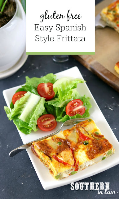 Easy Spanish Style Frittata Recipe - Gluten Free Potato and Capsicum Frittata on White Rectangle Plate with Salad