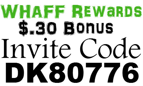 WHAFF Invitation Code 2018 $.30 Bonus, Whaff Rewards Invite Code, Whaff Code 2019