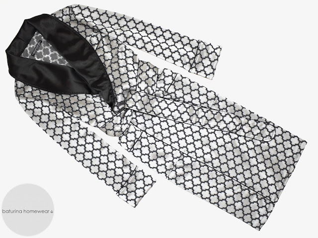 mens luxury vintage silk dressing gown lightweight full length big tall size summer robe black white smoking jacket