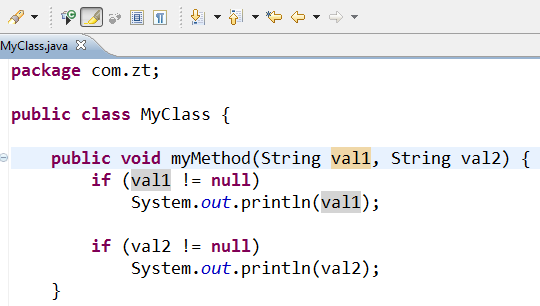 null variable in java