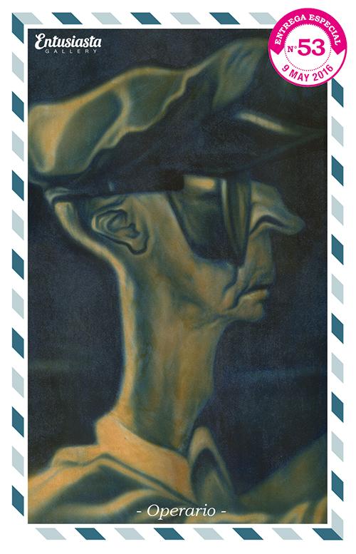 Antiguo operario de perfil, con gorra y gafas de protección, pintado acrílico y aerógrafo.