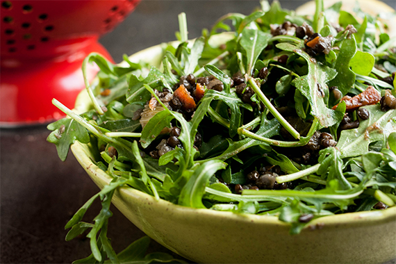 Quick Lentil, Root Vegetable, and Arugula Salad
