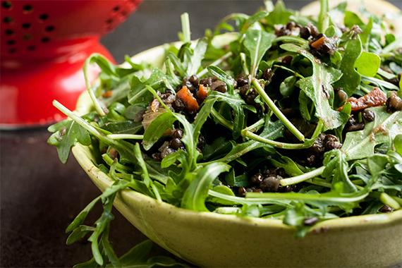 Quick Lentil, Root Vegetable, and Arugula Salad