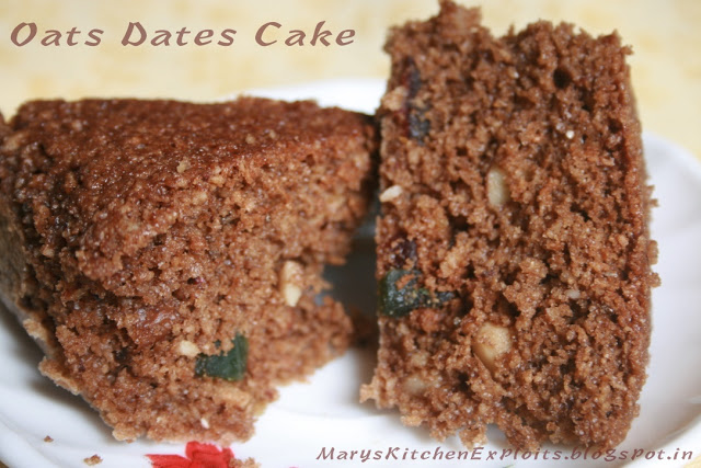 Biscuity Oats Dates Cake Recipe