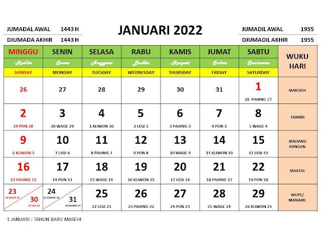 Download Kalender 2022 Lengkap Format PDF dan CDR Siap Edit