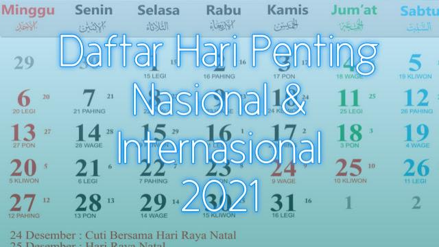 Daftar Peringatan Hari Penting di Tahun 2021