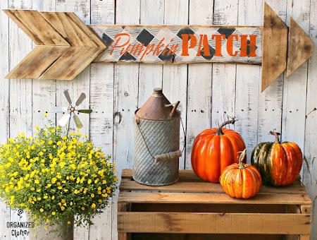 Pumpkin Patch Buffalo Check Arrow Sign
