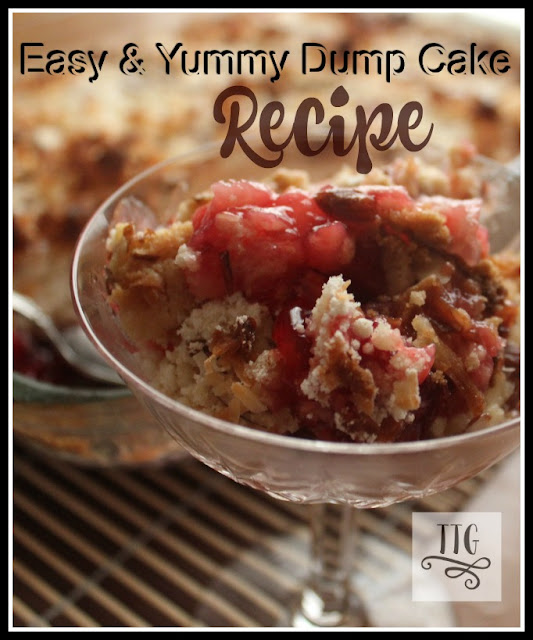 This is an easy and oh so yummy dump cake recipe with a couple of added  goodies for a little different taste.