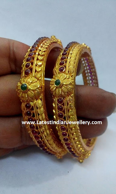 Gold Bangles with Spinels