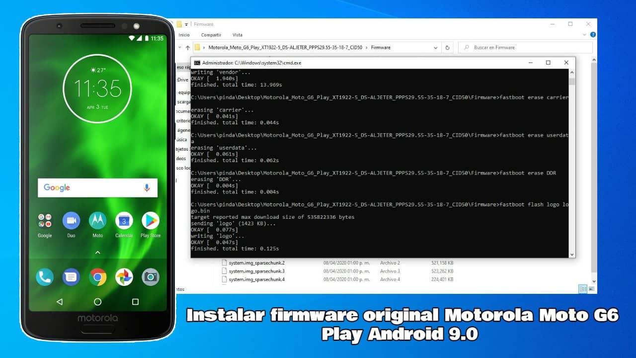 Instalar firmware oficial en Motorola Moto G6 Play