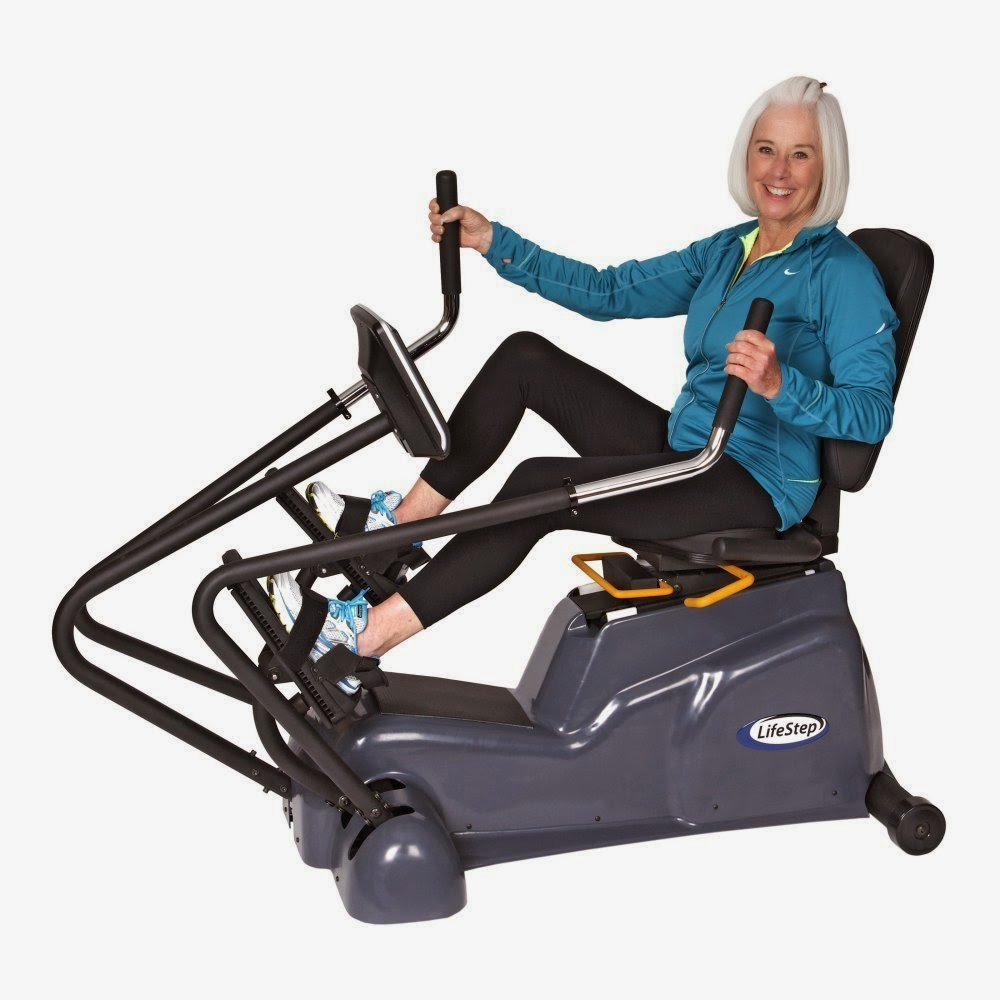 HCI Fitness LifeStep Recumbent Linear Stepper Cross Trainer, review, for rehabilitation and general health and fitness, comfy swivel seat, ergonomic grip handles, step-through frame design