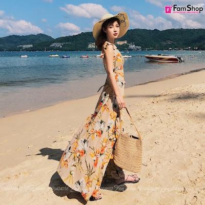 Váy maxi đi biển V500
