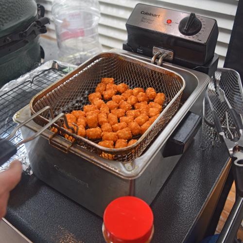 Using a Cuisinart deep fryer to make tots.