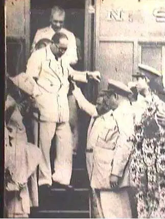 Police Officers and party workers receiving Dr. Ambdekar at Hyderabad Railway Station during his tour