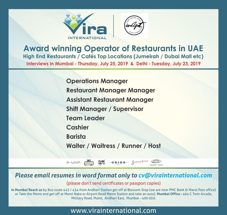 Award winning operator of restaurants in UAE