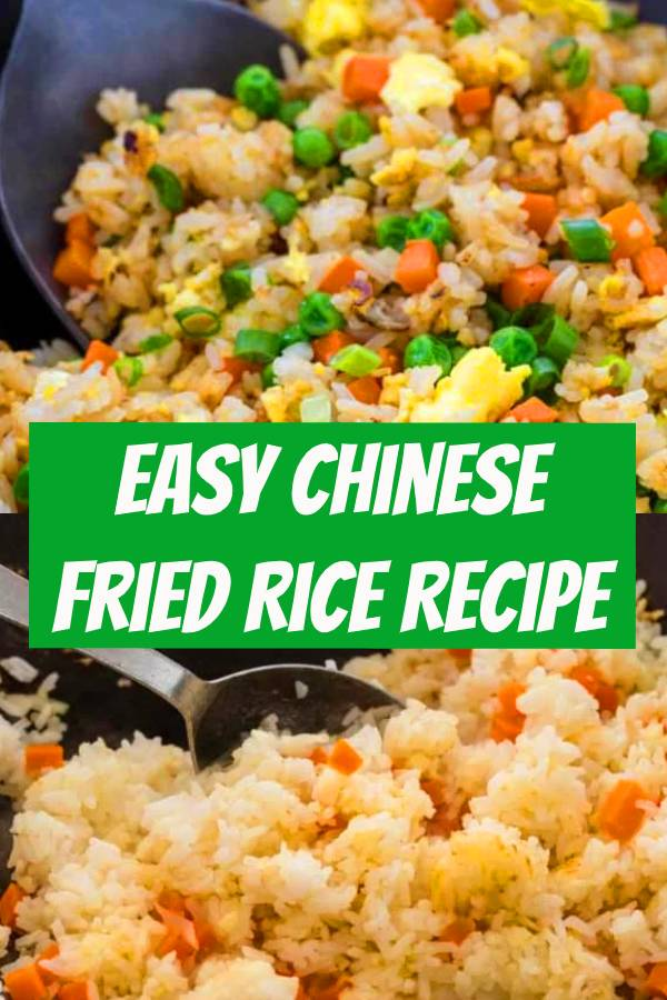 Chinese fried rice made with fragrant jasmine rice, carrots, peas, and scrambled eggs. This easy stir-fried dish turns plain white rice into flavorful grains lightly seasoned with soy sauce and tossed with colorful vegetables. #friedrice #chinesefood