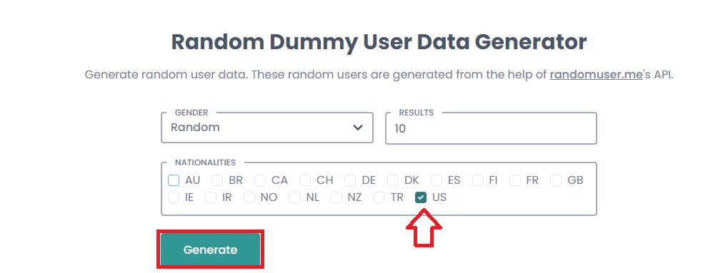 Generate Fake User Data