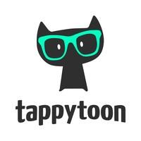 Logo de Tappytoon, un gato negro con gafas verdes sobre fondo blanco