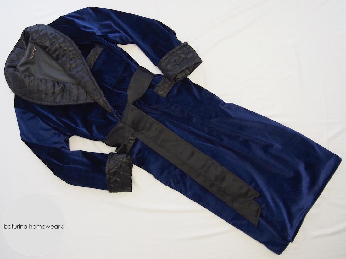 Navy & Black Velvet Men\'s Dressing Gown with Quilted Silk Lapel