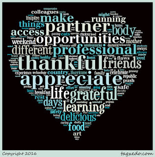Word cloud of the October's gratitude notes in the shape of a heart.