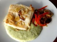 Bacalao con hortalizas y crema de patata