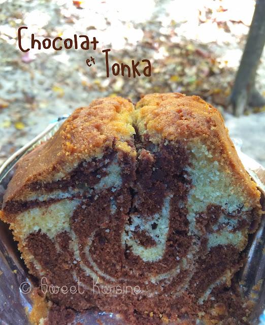 sweet kwisine, cake, marbré, chocolat, fève tonka, plage, martinique, camping, cap macré, sans lactose