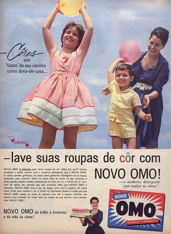 Propaganda antiga do Sabão OMO para roupas coloridas veiculada em 1963