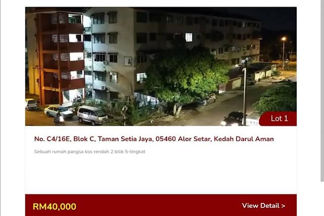 Lot 1 : Contoh Rumah yang akan dilelong Oleh LPPSA pada harga Rezab RM40,000