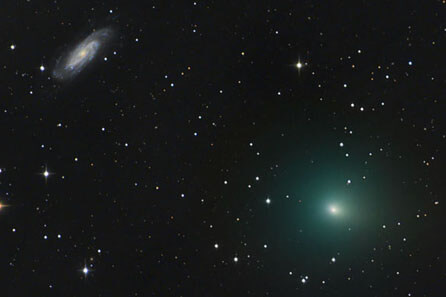 Comet 41P/Tuttle-Giacobini-Kresak pairs up with the beautiful  spiral galaxy NGC 3198 on March 14. Chris Schur