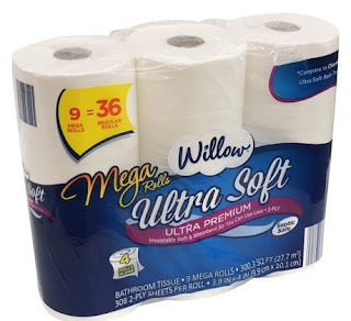 A stock image of Willow Ultra Soft Mega Rolls Toilet Paper, from Aldi