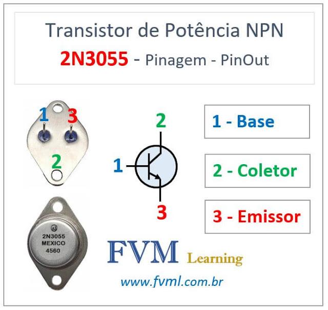 Pinagem - Pinout - Transistor - NPN - 2N3055 - Características