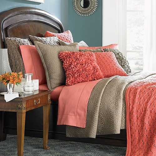 Coral And Gray Bedroom: Ally Interiors : Peach And Tan