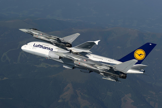 Lufthansa A380-800 Escorted By Austrian Eurofighter Typhoon