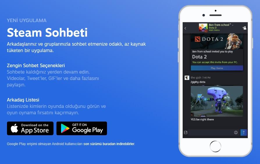 Yeni Steam Sohbet Mobil Uygulaması