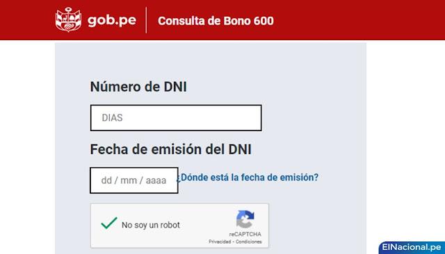 Link bono 600 - WWW.BONO600.GOB.PE