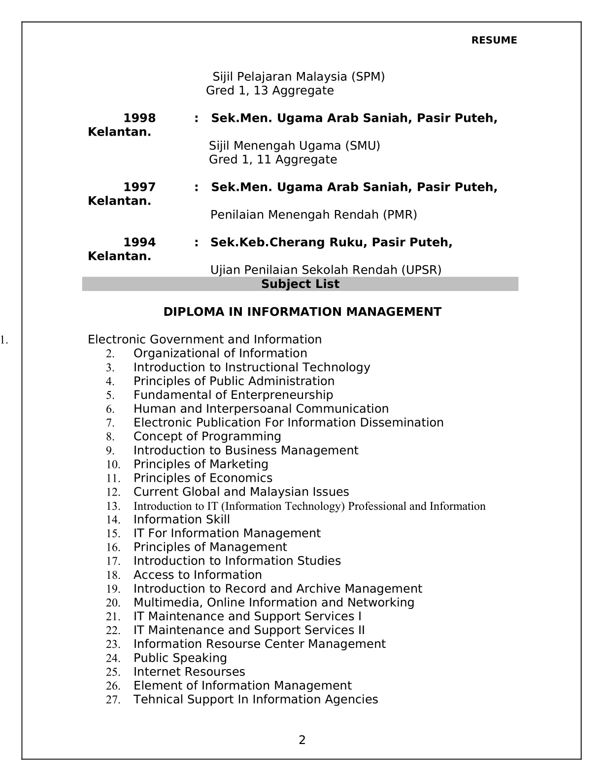 contoh resume lengkap