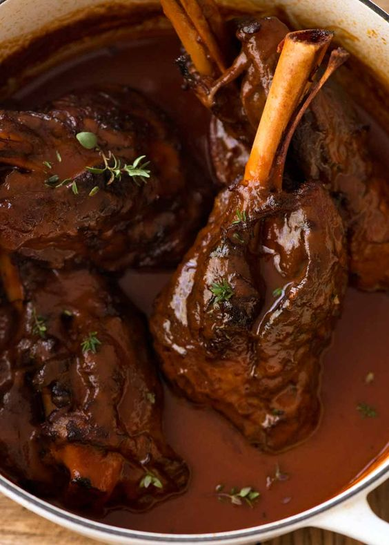 SLOW COOKED LAMB SHANKS WITH RED WINE SAUCE