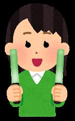 緑のペンライトを持つ人のイラスト(女性)