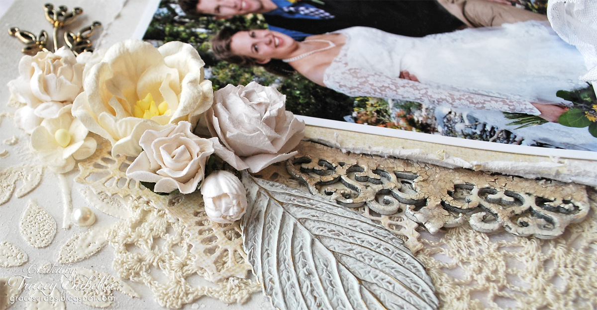 Mixed Media, Tracey Sabella, Leaky Shed Studio, Wild Orchid Crafts, Wedding, Chipboard, Prima Doily