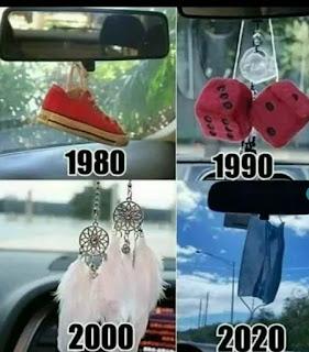 Evolución cosas colgadas en espejo retrovisor