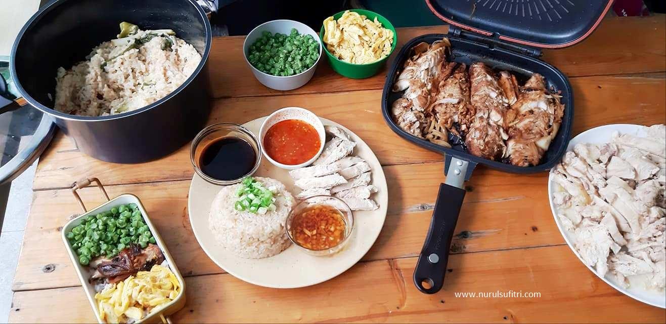 Nurul Sufitri S Blog Cara Mudah Masak Nasi Ayam Hainan Dan Saba Fish Teriyaki Bento Marinate Dengan Happycall Titanium Double Pan
