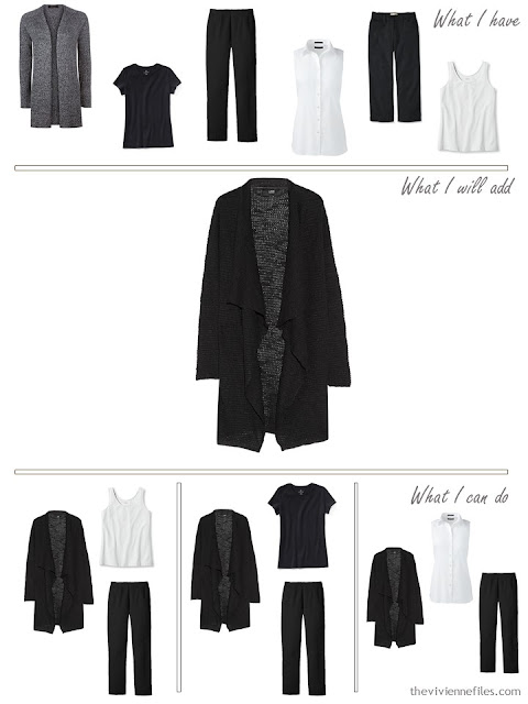add a black cardigan to a travel capsule wardrobe