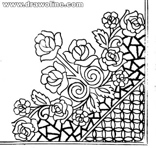 sketch of free machine embroidery designs download,free machine embroidery projects, corner design drawings for Embroidery saree